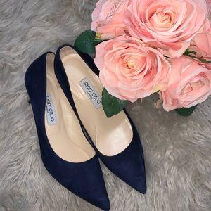 Navy blue Suede Jimmy Choo pointed heels